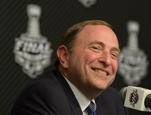 Jun 4, 2014; Los Angeles, CA, USA; NHL commissioner Gary Bettman at a press conference before game one of the 2014 Stanley Cup Final between the New York Rangers and the Los Angeles Kings at Staples Center. Mandatory Credit: Kirby Lee-USA TODAY Sports