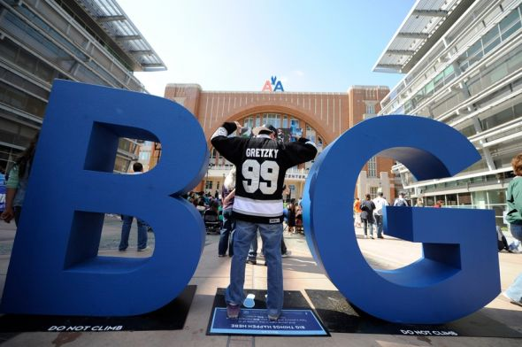 Mar 31, 2013; Dallas, TX, USA; Los Angeles Kings fan Robbie Romeo shows off his Wayne Gretzky jersey before the game between the Dallas Stars and the Los Angeles Kings at the American Airlines Center. Mandatory Credit: Jerome Miron-USA TODAY Sports