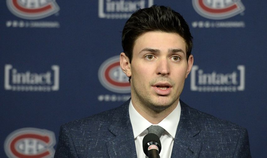 Dec 15, 2015; Montreal, Quebec, CAN; 2015 Montreal Canadiens goalie Carey Price gives a press conference after receiving the 2015 Lou Marsh Memorial Award as the Canadian Athlete of the Year before the game between the San Jose Sharks and the Montreal Canadiens at the Bell Centre. Mandatory Credit: Eric Bolte-USA TODAY Sports
