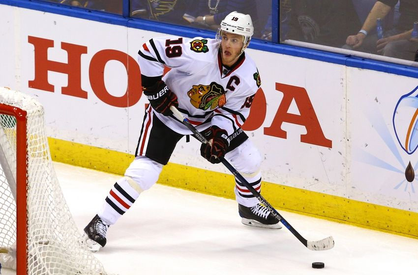 Apr 15, 2016; St. Louis, MO, USA; Chicago Blackhawks center Jonathan Toews (19) skates with the puck during game two of the first round of the 2016 Stanley Cup Playoffs against the St. Louis Blues at Scottrade Center. The Blackhawks won the game 3-2. Mandatory Credit: Billy Hurst-USA TODAY Sports