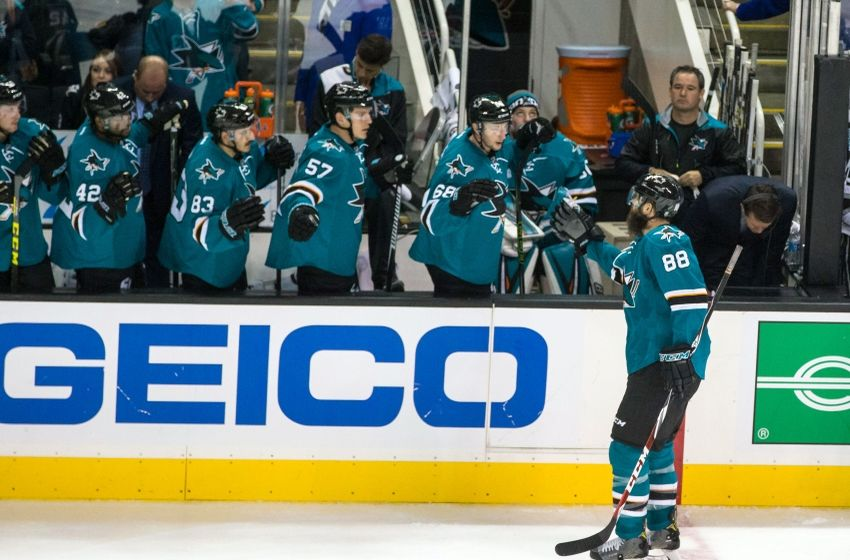 Oct 12, 2016; San Jose, CA, USA; San Jose Sharks defenseman Brent Burns (88) celebrates scoring a goal against the Los Angeles Kings in the third period at SAP Center at San Jose. The Sharks won 2-1. Mandatory Credit: John Hefti-USA TODAY Sports