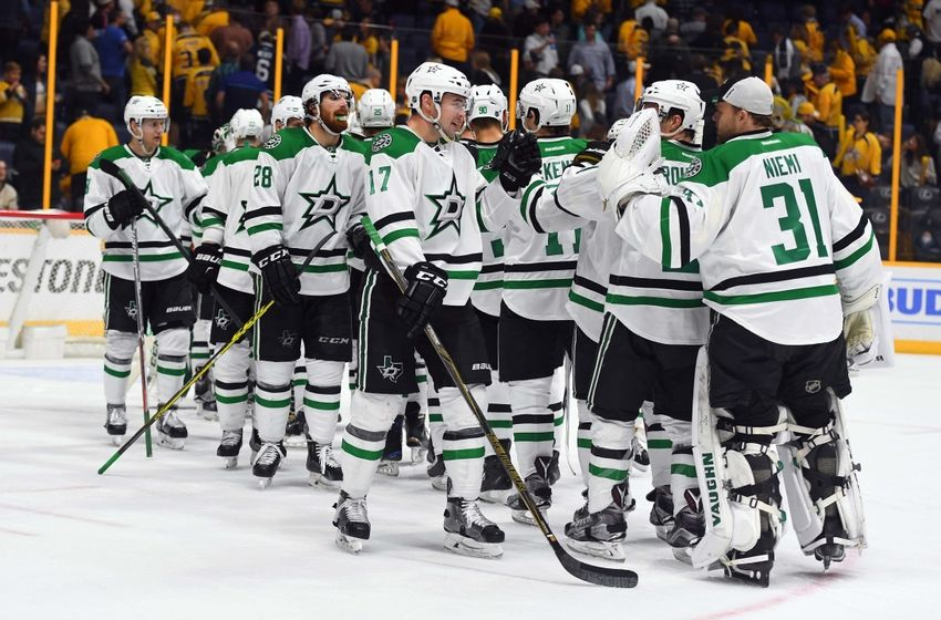 NHL Power Rankings: Dallas Stars players celebrate after a win against the Nashville Predators at Bridgestone Arena. The Stars won 2-1. Mandatory Credit: Christopher Hanewinckel-USA TODAY Sports