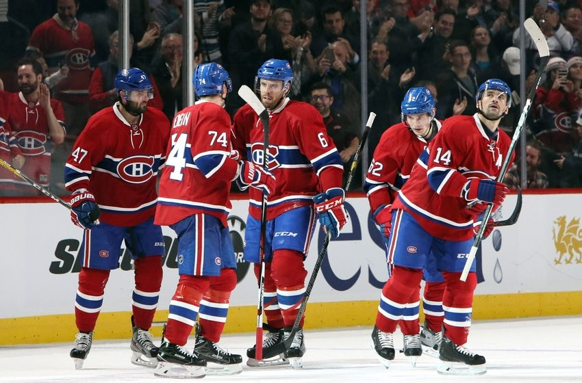 8c3a23d5d NHL Power Rankings  Montreal Canadiens right wing Alexander Radulov (47)  celebrates his goal against Philadelphia Flyers with teammates during the  third ...