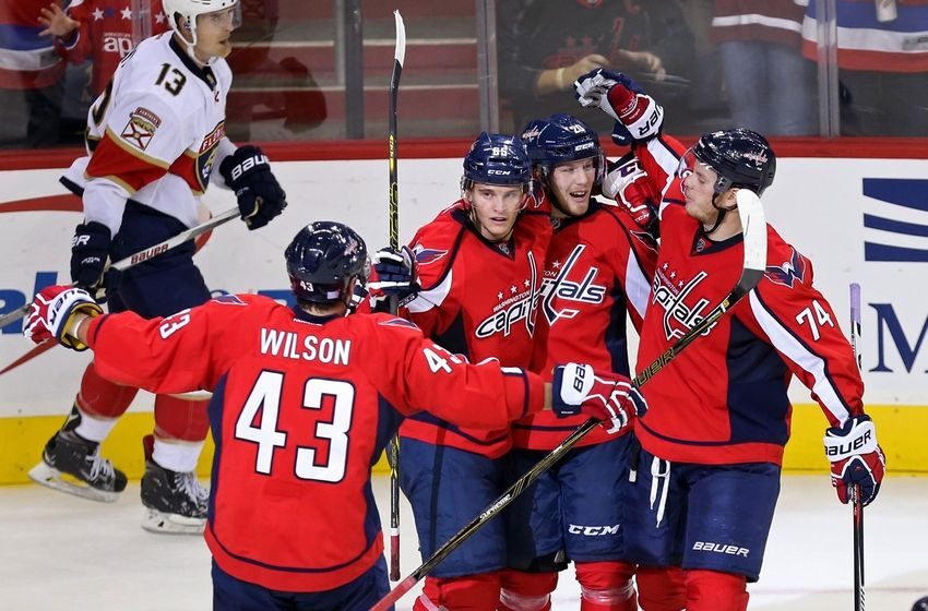 Nov 5, 2016; Washington, DC, USA; Washington Capitals center Lars Eller (20) celebrates with teammates after scoring a goal against the Florida Panthers in the third period at Verizon Center. The Capitals won 4-2. Mandatory Credit: Geoff Burke-USA TODAY Sports
