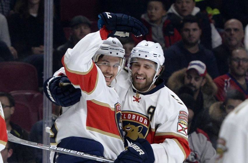 NHL Power Rankings: Florida Panthers defenseman Alex Petrovic (6) reacts with teammates after scoring a goal against the Montreal Canadiens during the first period at the Bell Centre. Mandatory Credit: Eric Bolte-USA TODAY Sports