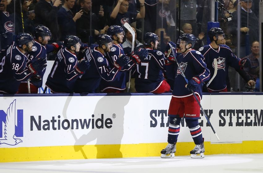 Nov 15, 2016; Columbus, OH, USA; Columbus Blue Jackets defenseman Zach Werenski (8) celebrates a goal against the Washington Capitals during the third period at Nationwide Arena. Columbus beat Washington in overtime 3-2. Mandatory Credit: Russell LaBounty-USA TODAY Sports
