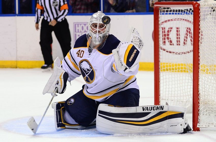 NHL Power Rankings: Buffalo Sabres goalie Robin Lehner (40) defends the net against the St. Louis Blues during the second period at Scottrade Center. Mandatory Credit: Jeff Curry-USA TODAY Sports