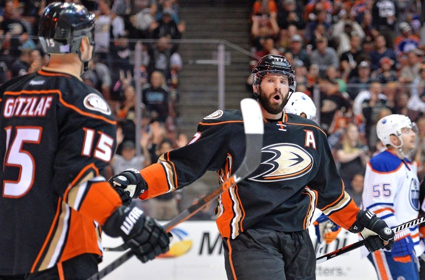 NHL Power Rankings: Anaheim Ducks center Ryan Kesler (17) celebrates with center Ryan Getzlaf (15) after scoring a goal against the Edmonton Oilers during the second period at Honda Center. Mandatory Credit: Jake Roth-USA TODAY Sports