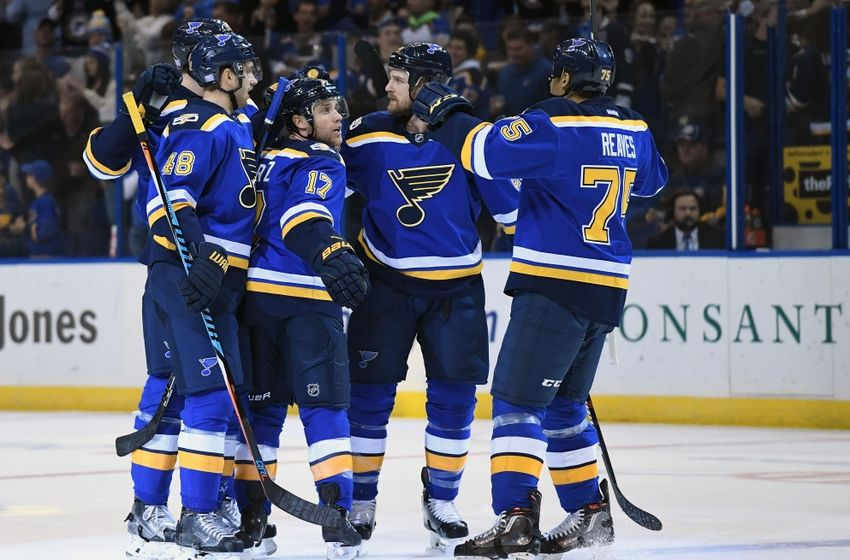 Nov 17, 2016; St. Louis, MO, USA; St. Louis Blues left wing Jaden Schwartz (17) is congratulated by defenseman Petteri Lindbohm (48) center Kyle Brodziak (28) and right wing Ryan Reaves (75) after scoring his second goal of the game against the San Jose Sharks during the second period at Scottrade Center. Mandatory Credit: Jeff Curry-USA TODAY Sports