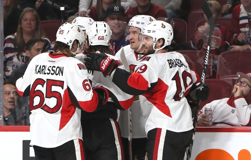 NHL Power Rankings: Ottawa Senators right wing Mark Stone (61) celebrates his goal against Montreal Canadiens with temmates during the third period at Bell Centre. Mandatory Credit: Jean-YvesAhern-USA TODAY Sports