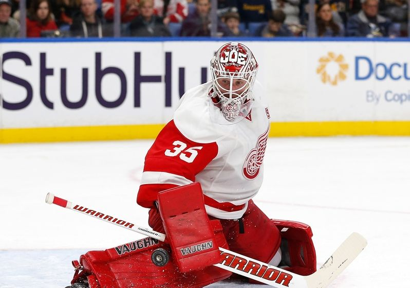 NHL Power Rankings: Detroit Red Wings goalie Jimmy Howard (35) makes a save against the Buffalo Sabres during the second period at KeyBank Center. Mandatory Credit: Kevin Hoffman-USA TODAY Sports