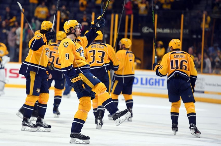 Nov 23, 2016; Nashville, TN, USA; Nashville Predators left wing Filip Forsberg (9) celebrates after a win against the Dallas Stars at Bridgestone Arena. The Predators won 5-2. Mandatory Credit: Christopher Hanewinckel-USA TODAY Sports