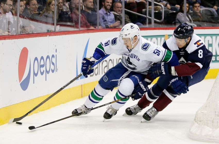 NHL Power Rankings: Vancouver Canucks defenseman Troy Stecher (51) controls the puck under pressure from Colorado Avalanche center Joe Colborne (8) in the second period at the Pepsi Center. Mandatory Credit: Isaiah J. Downing-USA TODAY Sports