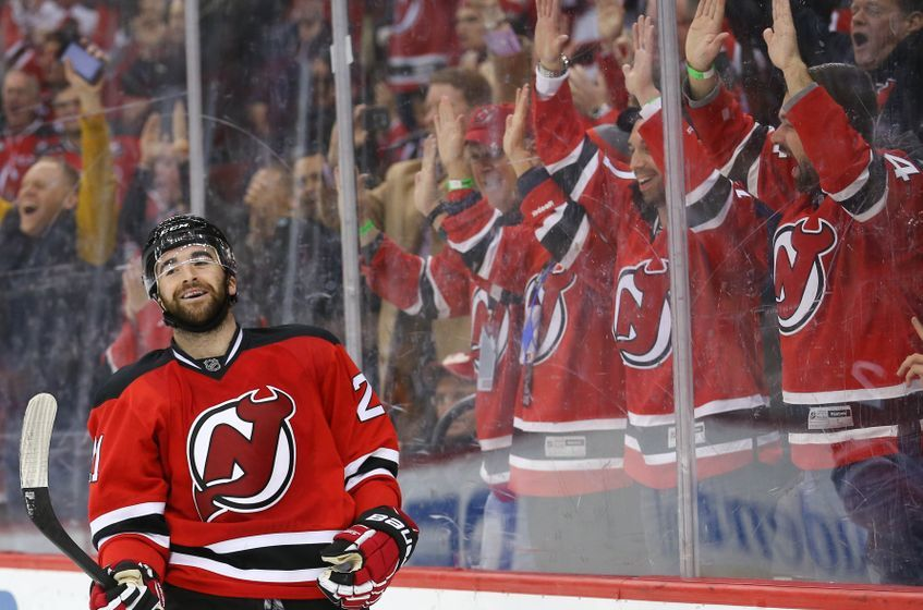 NHL Power Rankings: New Jersey Devils right wing Kyle Palmieri (21) celebrates his goal during the second period of their game against the Vancouver Canucks at Prudential Center. Mandatory Credit: Ed Mulholland-USA TODAY Sports