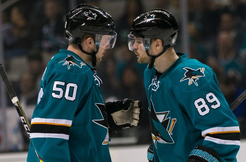 NHL Power Rankings: San Jose Sharks left wing Mikkel Boedker (89) and center Chris Tierney (50) talk before a power play face-off against the Ottawa Senatorsin the second period at SAP Center at San Jose. Mandatory Credit: John Hefti-USA TODAY Sports