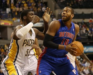 Detroit Pistons center Greg Monroe (10) backs Indiana Pacers center Roy Hibbert (55) into the paint during a game between the Pacers and Pistons last season Mandatory Credit: Pat Lovell-USA TODAY Sports