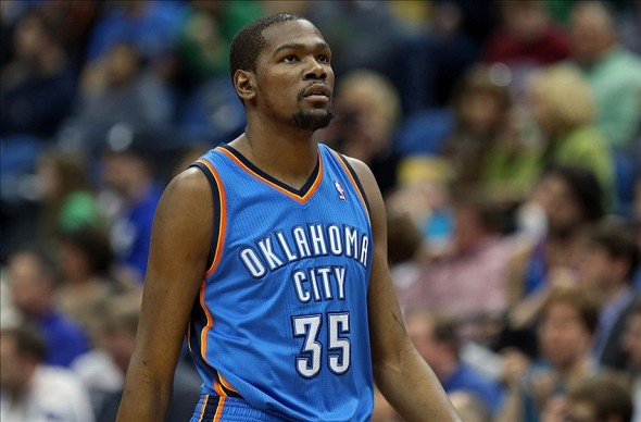 Mar 29, 2013; Minneapolis, MN, USA; Oklahoma City Thunder small forward Kevin Durant (35) looks on during the second half against the Minnesota Timberwolves at Target Center. The Wolves won 101-93. Mandatory Credit: Jesse Johnson-USA TODAY Sports
