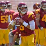 Sep 14, 2013; Los Angeles, CA, USA; USC Trojans quarterback Cody Kessler (6) warms up before the game against the Boston College Eagles at Los Angeles Memorial Coliseum. Mandatory Credit: Robert Hanashiro-USA TODAY Sports