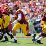 Sep 14, 2013; Los Angeles, CA, USA; USC Trojans quarterback Cody Kessler (6) scrambles during first quarter action against Boston College at Los Angeles Memorial Coliseum. Mandatory Credit: Robert Hanashiro-USA TODAY Sports