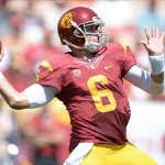 Sep 14, 2013; Los Angeles, CA, USA; Southern California Trojans quarterback Cody Kessler (6) throws a pass against the Boston College Eagles at Los Angeles Memorial Coliseum. Mandatory Credit: Kirby Lee-USA TODAY Sports