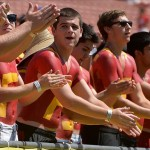 Sep 14, 2013; Los Angeles, CA, USA; USC fans claps for the Trojans as they went on to a 35-7 win over Boston College at Los Angeles Memorial Coliseum. Mandatory Credit: Robert Hanashiro-USA TODAY Sports