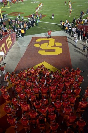 Oct 10, 2013; Los Angeles, CA, USA; General view of Southern California Trojans players entering the field from the Los Angeles Memorial Coliseum tunnel before the game against the Arizona Wildcats. USC defeated Arizona 38-31. Mandatory Credit: Kirby Lee-USA TODAY Sports