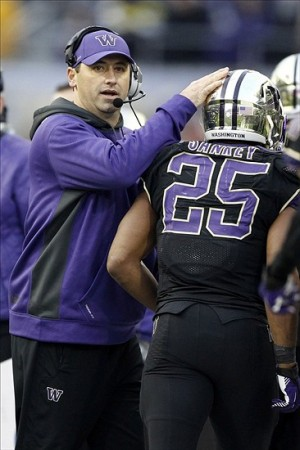 Nov 29, 2013; Seattle, WA, USA; Washington Huskies head coach Steve Sarkisian greets Washington Huskies running back Bishop Sankey (25) following a touchdown against the Washington State Cougars during the fourth quarter at Husky Stadium. Mandatory Credit: Joe Nicholson-USA TODAY Sports