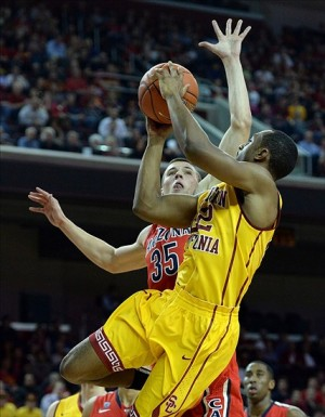 Jan 12, 2014; Los Angeles, CA, USA; Arizona Wildcats center Kaleb Tarczewski (35) defends a shot by USC Trojans guard Byron Wesley (22) in the first half of the game at Galen Center. Mandatory Credit: Jayne Kamin-Oncea-USA TODAY Sports