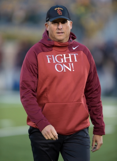 Oct 17, 2015; South Bend, IN, USA; Southern California Trojans interim coach Clay Helton before a NCAA football game against the Notre Dame Fighting Irish at Notre Dame Stadium. Mandatory Credit: Kirby Lee-USA TODAY Sports