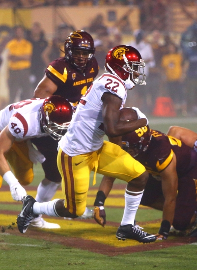 Sep 26, 2015; Tempe, AZ, USA; Southern California Trojans running back Justin Davis (22) against the Arizona State Sun Devils at Sun Devil Stadium. Mandatory Credit: Mark J. Rebilas-USA TODAY Sports