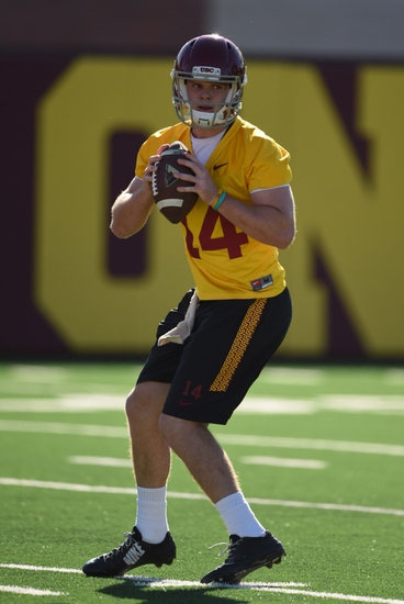 Mar 8, 2016; Los Angeles, CA, USA; Southern California Trojans quarterback Sam Darnold (14) throws a pass during spring practice at Howard Jones Field. Mandatory Credit: Kirby Lee-USA TODAY Sports