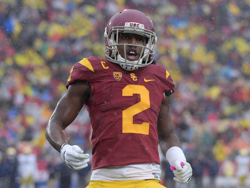 Nov 26, 2016; Los Angeles, CA, USA; Southern California Trojans defensive back Adoree Jackson (2) celebrates during a NCAA football game against the Notre Dame Fighting Irish at Los Angeles Memorial Coliseum. Mandatory Credit: Kirby Lee-USA TODAY Sports
