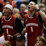 Mar 22, 2014; Milwaukee, WI, USA; Wisconsin Badgers fans in the first half of a men