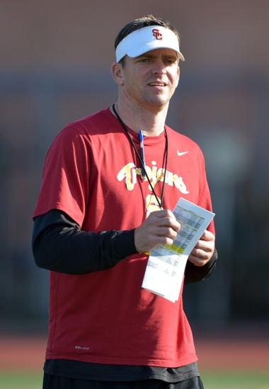 Mar 3, 2015; Los Angeles, CA, USA; Southern California Trojans defensive coordinator Justin Wilcox at spring practice at Cromwell Field. Mandatory Credit: Kirby Lee-USA TODAY Sports