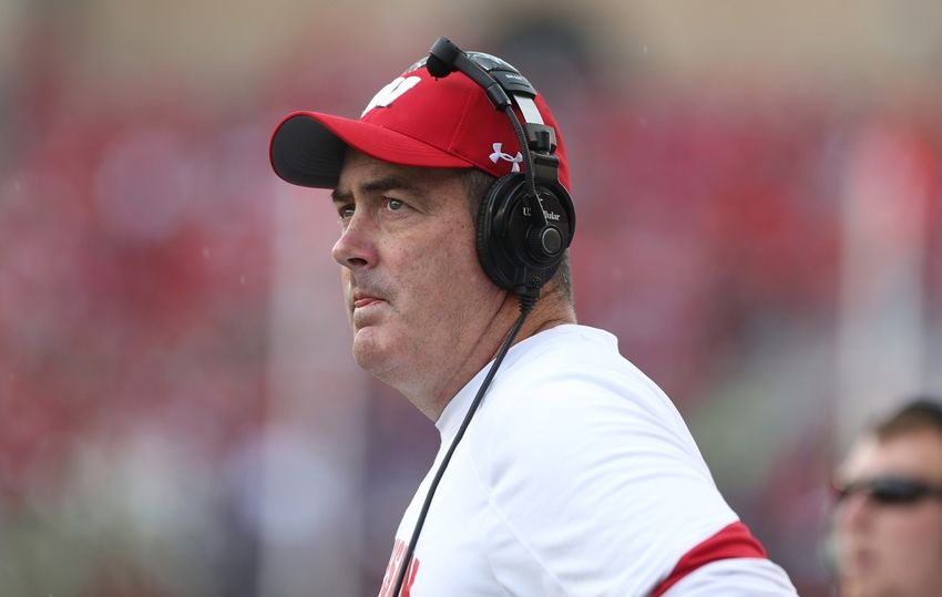 Sep 10, 2016; Madison, WI, USA; Wisconsin Badgers head coach Paul Chryst looks at the scoreboard during a contested call during the game against the Akron Zips at Camp Randall Stadium. Wisconsin defeated Akron 54-10. Mandatory Credit: Mary Langenfeld-USA TODAY Sports