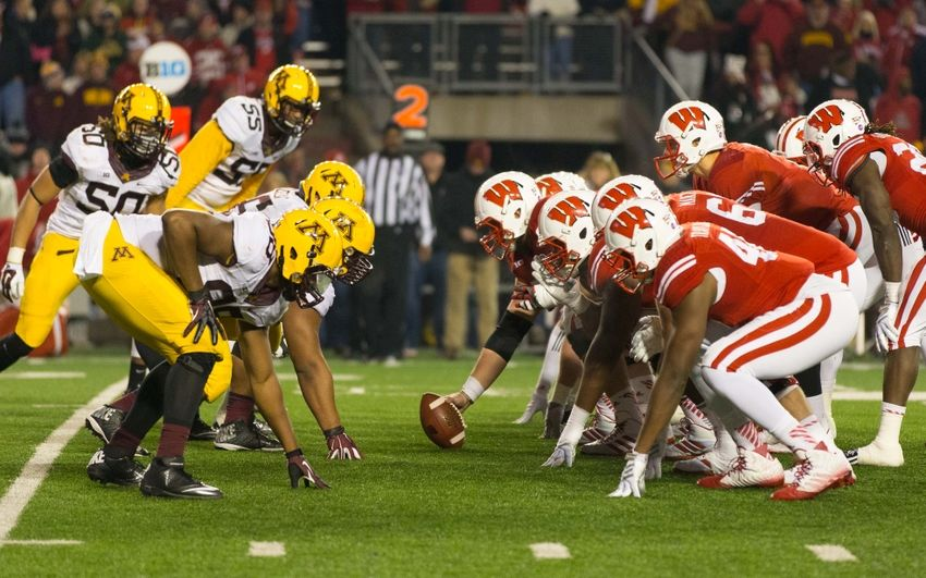 Nov 29, 2014; Madison, WI, USA; The Wisconsin Badgers line up for a play during the game against the Minnesota Golden Gophers at Camp Randall Stadium. Wisconsin won 34-24. Mandatory Credit: Jeff Hanisch-USA TODAY Sports