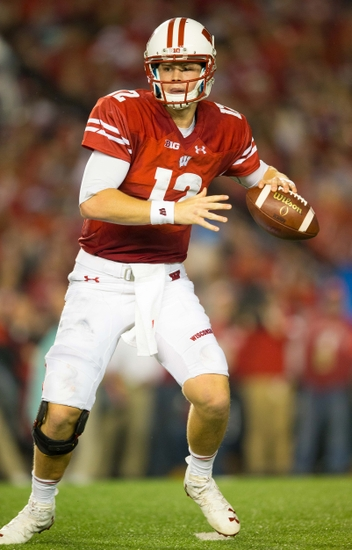 Oct 15, 2016; Madison, WI, USA; Wisconsin Badgers quarterback Alex Hornibrook (12) during the game against the Ohio State Buckeyes at Camp Randall Stadium. Ohio State won 30-23. Mandatory Credit: Jeff Hanisch-USA TODAY Sports