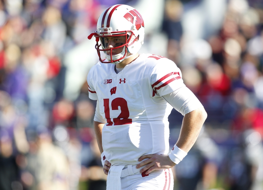 Nov 5, 2016; Evanston, IL, USA; Wisconsin Badgers quarterback Alex Hornibrook (12) looks on during the game against the Northwestern Wildcats at Ryan Field. Mandatory Credit: Caylor Arnold-USA TODAY Sports