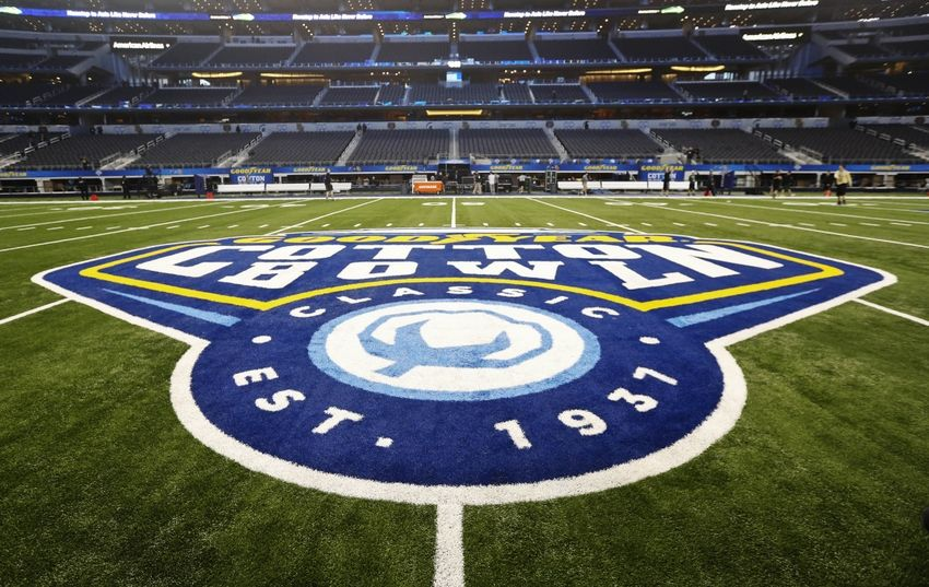 Jan 1, 2015; Arlington, TX, USA; General view of the Goodyear Cotton Bowl logo before the game between the Baylor Bears and Michigan State Spartans in the 2015 Cotton Bowl Classic at AT&T Stadium. Mandatory Credit: Kevin Jairaj-USA TODAY Sports