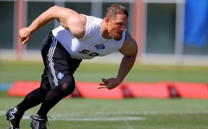 Mar 22, 2015; Tempe, AZ, USA; Defensive end Adam Carriker participates in drills during the NFL Veteran Combine at the Arizona Cardinals training facility. Mandatory Credit: Mark J. Rebilas-USA TODAY Sports