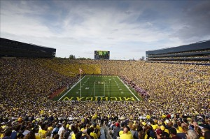 Aug 31, 2013; Ann Arbor, MI, USA; General view of Michigan Stadium during the game between the Michigan Wolverines and the Central Michigan Chippewas. Mandatory Credit: Sage Osentoski-USA TODAY Sports