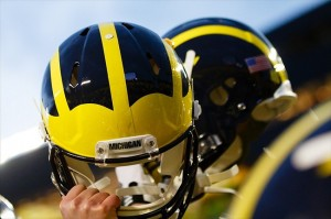 October 20, 2012; Ann Arbor, MI, USA; Michigan Wolverines players hold up their helmets after the game against the Michigan State Spartans at Michigan Stadium. Mandatory Credit: Rick Osentoski-USA TODAY Sports