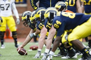 Apr 13, 2013; Ann Arbor, MI, USA; Michigan Wolverines offensive line gets set during the Spring Game at Michigan Stadium. Mandatory Credit: Rick Osentoski-USA TODAY Sports