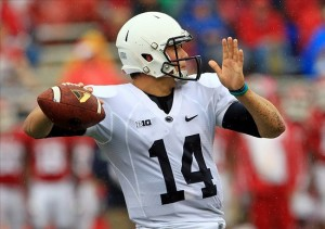 Oct 5, 2013; Bloomington, IN, USA; Penn State Nittany Lions quarterback Christian Hackenberg (14) passes the ball against the Indiana Hoosiers at Memorial Stadium. Mandatory Credit: Pat Lovell-USA TODAY Sports