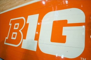 Dec 4, 2012; Champaign, IL, USA; The Big Ten logo displayed on the court before the game between the Western Carolina Catamounts and the Illinois Fighting Illini at Assembly Hall. Mandatory Credit: Bradley Leeb-USA TODAY Sports