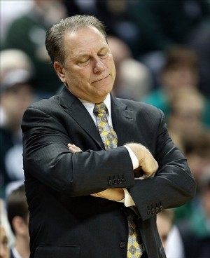 Dec 17, 2013; East Lansing, MI, USA; Michigan State Spartans head coach Tom Izzo reacts to a play during the 1st half of a game against the North Florida Ospreys at Jack Breslin Student Events Center. Mandatory Credit: Mike Carter-USA TODAY Sports
