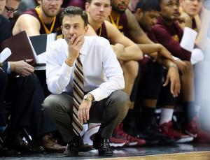 Jan 11, 2014; East Lansing, MI, USA; Minnesota Golden Gophers head coach Richard Pitino reacts to a play during the 2nd half of a game at Jack Breslin Student Events Center. Mandatory Credit: Mike Carter-USA TODAY Sports