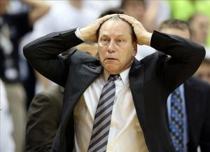 Feb 16, 2014; East Lansing, MI, USA; Michigan State Spartans head coach Tom Izzo reacts to a play during the 2nd half of a game at Jack Breslin Student Events Center. Mandatory Credit: Mike Carter-USA TODAY Sports