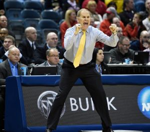 Mar 22, 2014; Milwaukee, WI, USA; Michigan Wolverines head coach John Beilein in the first half of a men