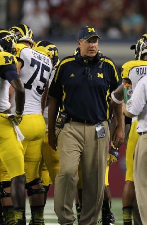 Sep 1, 2012; Arlington, TX, USA; Michigan Wolverines offensive line coach Darrell Funk on the sidelines against the Alabama Crimson Tide at Cowboys Stadium. Mandatory Credit: Matthew Emmons-USA TODAY Sports
